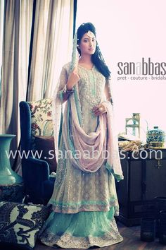 Sana Abbas  At special request for the anon looking for peach and blue bridal pictures