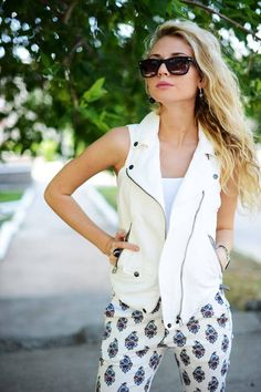 Biker East women style clothing outfit fashion sunglasses white vest pants watch summer casual street