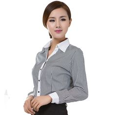 2017 Office Lady Formal Blouses Stripe Long Sleeve Turn-down Collar Cotton Occupational Shirts OL Style Women Tops Ropa Mujer