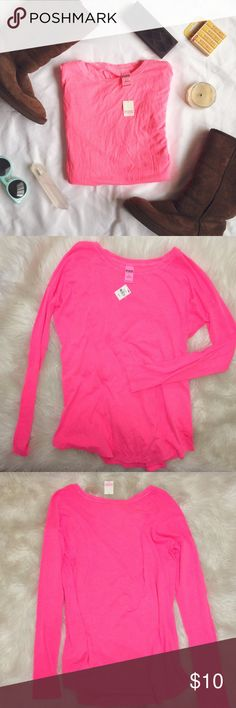 NEW [VS PINK] long sleeved tee NWT Super soft long sleeve shirt from PINK Victoria's Secret. Neon pink with embroidered logo on front bottom left hem. Perfect for layering or casual wear.  15% off 2+ bundles! Check out my other PINK  ☺️ PINK Victoria's Secret Tops Tees - Long Sleeve