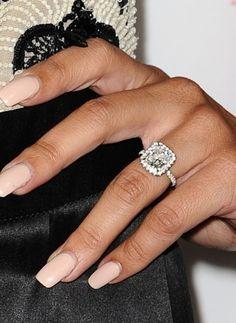 Naya Rivera S New Cushion Cut Engagement Ring Halo Rings Wedding