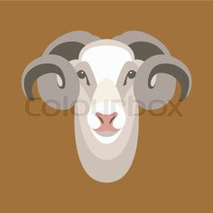 Stock vector of 'ram sheep face vector illustration style flat'