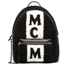 Women's Mcm Stark Genuine Shearling Stripe Canvas Backpack ($2,100) ❤ liked on Polyvore featuring bags, backpacks, black, canvas laptop backpack, mcm backpack, logo backpack, striped backpack and canvas shopping bags
