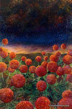 Torch On The Flowers by finger painter Iris Scott. IrisScottPrints.com