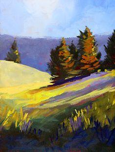 Mountain Field - painting by Nancy Merkle nancy-merkle.artistwebsites.com #landscapepainting #impressionism #wallart Landscape Drawings, Cool Landscapes, Landscape Art, Landscape Paintings, Mountain Landscape, Impressionist Landscape, Fine Art Amerika, Mountain Paintings, Art Graphique