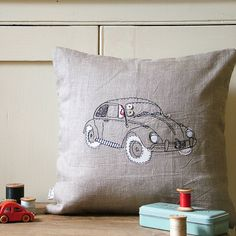 Volkswagen: Little Car Embroidered Cushion | by Lynsey Hunter Illustration