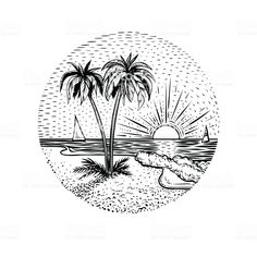 Line beach landscape with palms and sunset. Round emblem, card, tattoo or design element. - Royalty-free Line Art stock vector