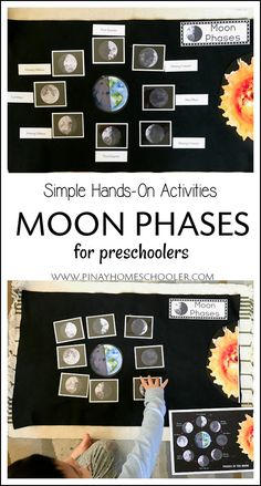 Learning about the phases of the moon for preschoolers using hands-on materials.