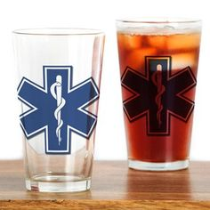 EMS EMT Rescue Logo Drinking Glass