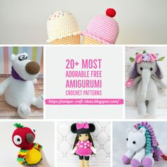 Crochet Amigurumi Animal 20 Most Adorable Free Amigurumi Crochet Patterns - FREE amigurumi patterns and tutorials to make the cutest crochet toys. This crochet style is very easy and fun, and your kids will love you for it. Crochet Teddy Bear Pattern, Crochet Motifs, Crochet Amigurumi Free Patterns, Crochet Animal Patterns, Crochet Toys, Crochet Birds, Cute Crochet, Crochet Style, Crocheted Animals
