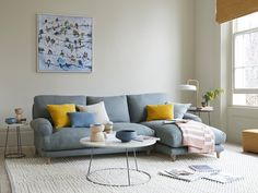 This beauty is a classic chaise sofa for sitting in rather than on. And for putting your feet up rather than down. Living Pequeños, Blue Couch Living Room, Living Room Decor, Light Blue Couches, Small Apartment Living, Comfy Sofa, Sofa Frame, Chaise Sofa, Home Interior