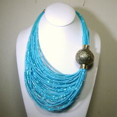 Aqua Glass Multistrand Bib Necklace, Giant Aghani Silver Focal Bead, 60 Strands Turquoise Tube n Seed beads, Ecochic Recycled Statement
