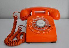 Vintage Orange ITT Rotary Phone Telephone