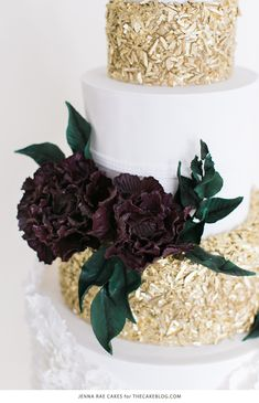 2015 Wedding Cake Trends | including this gold & marsala sequin cake by Jenna Rae Cakes