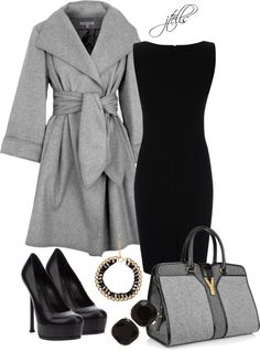 grey wool. --I love this look. The only thing I'd change is the gold to silver accessories.