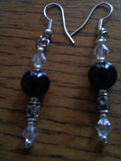 Beaded Black and Crystal Earrings by knaaccessories on Etsy, $8.00