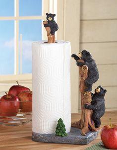 "$26.99 Northwood Theme Black Bear Countertop Paper Towel Holder Resin 16"""