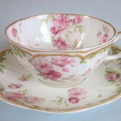 HAVILAND Limoges Porcelain Cup Saucer Garlands PINK ROSES * Double GOLD