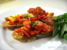 My favorite food; Perfect Summer Tomato Bruschetta by summertomato.com #Bruschetta #Tomato #summertomato