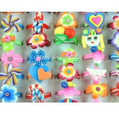 20PCS Multicolor Flower Rings For Child Polymer Clay Heart Ring Cute Children's Kids Ring Jewery Adjustable Wholesale Gift #Affiliate