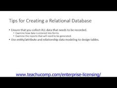 A clip from Mastering Microsoft Access Made Easy:   tips for creating a relational database. Get a FREE demo of our training for groups of 5 or more at www.teachucomp.com/enterprise-licensing/  Visit us today! www.teachucomp.com