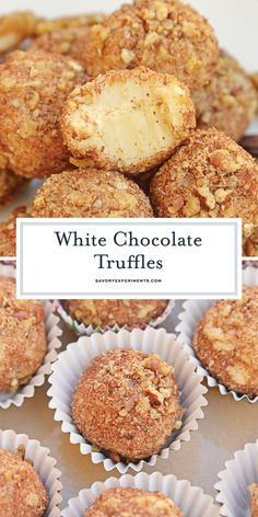 White Chocolate Truffles are an easy truffle recipe made with just a handful of ingredients. Creamy white chocolate rolled in toasted pecans cinnamon and nutmeg. Köstliche Desserts, Best Dessert Recipes, Candy Recipes, Delicious Desserts, White Chocolate Truffles, Chocolate Roll, Chocolate Recipes, Chocolate Dreams, Praline Recipe
