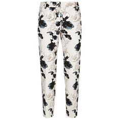 MaxMara Weekend Abele Floral Cigarette Trousers ($230) ❤ liked on Polyvore featuring pants, trousers, bottoms, white slim pants, slim fit pants, slim pants, floral printed pants and cigarette trousers