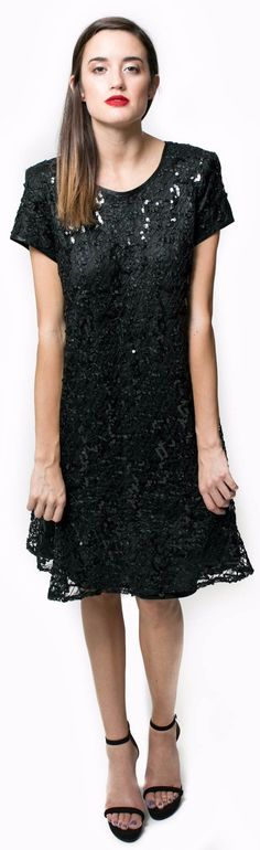 88fffad11f Black Sequin Babydoll Dress. GOAT VINTAGE