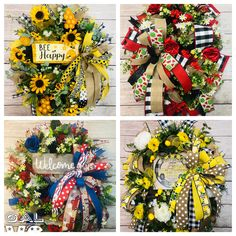 Summer Wreath, 4th Of July Wreath, Mesh Ribbon, Bee Happy, Glue Gun, Kandi, Arts And Crafts, Spring Summer, Wreaths