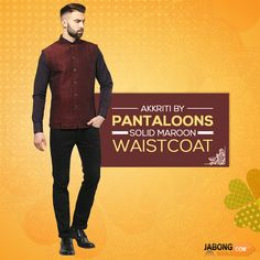 Pantaloons​ now at #Jabongworld!! Suave yourself up a notch by sporting a dapper look in this #sleeveless #Waistcoat! Check the price here- https://www.jabongworld.com/catalogsearch/result/?cat=236&q=pantaloons?utm_source=ViralCurryOrganic&utm_medium=Pinterest&utm_campaign=PantaloonsMens-28-june2015