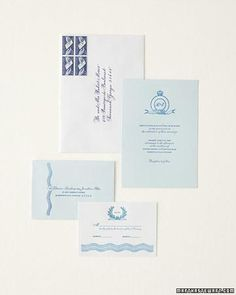 For this suite of stationery, we reinterpreted the hues and regal patterns of transferware and its identifying back stamps. Clockwise from top: Blue vintage postage matches the calligraphy. A monogram personalizes a crown-topped emblem on the invitation. The reply card bears a stamp-inspired laurel and a wave borrowed from a plate rim; the envelope repeats the wave. Calligraphy by Deborah Delaney. Invitations from Paper+Cup Design.