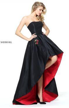 2017 Sweet Prom Black/Red Strapless Hi-low Long Dress By Sherri Hill 51035 High Low Prom Dresses, Sherri Hill Prom Dresses, Black Prom Dresses, Trendy Dresses, Elegant Dresses, Homecoming Dresses, Vintage Dresses, Beautiful Dresses, Fashion Dresses