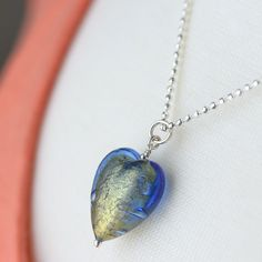 Golden Sapphire Blue Venetian Glass Heart Necklace on sterling silver chain