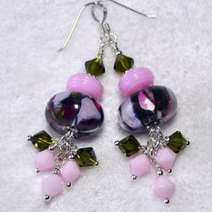 Pink Olive and Raspberry EarringsBoro Lampwork by ShelseeDesigns