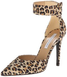 Diane von Furstenberg Women's Buckie Pump,Leopard,5 M US. Pointed-toe pump in featuring stiletto heel and adjustable ankle strap with coordinating buckle closure.