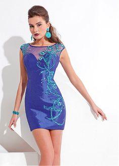 Charming Backless Jewel Neckline Beading Short Sheath Cocktail Dress