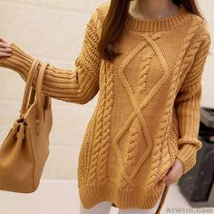 Wow~ Awesome Loosen Retro Twist Round Neck Sweater Solid Color Long Knitwear…