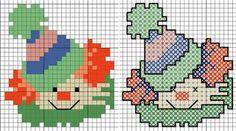 clowns, cross stitching pattern