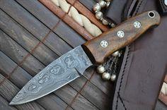 Now on Sale - Custom Damascus Hunting Knife - Beautiful Bushcraft Knife -