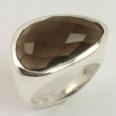 925 Pure Sterling Silver Ring Size US 7 Natural SMOKY QUARTZ Checker Gemstone #Unbranded Smoky Quartz Ring, Silver Jewellery Indian, Sterling Silver Jewelry, Rings For Men, Pure Products, Gemstones, Natural, Elegant, Classy