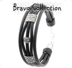 Sterling Silver & Genuine Leather Wristband Men Bracelet.