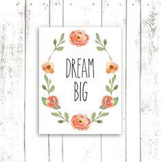 Dream Big Art Print - Nursery Quote Typography in Coral Watercolor Flowers - Laurel Wreath Print on Etsy, $18.00