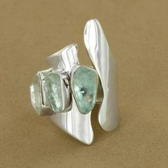 Sterling Silver Aquamarine & Herkimer Diamond Adjustable Ring by Lilly Barrack - Fire and Ice