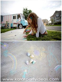 give the kids chalk to play