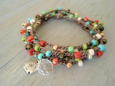 "Boho beaded crochet wrap necklace bracelet - SunDrops ""Santa Fe"", rustic Pewter Southwest Cross charm, turquoise, green, silver, red"