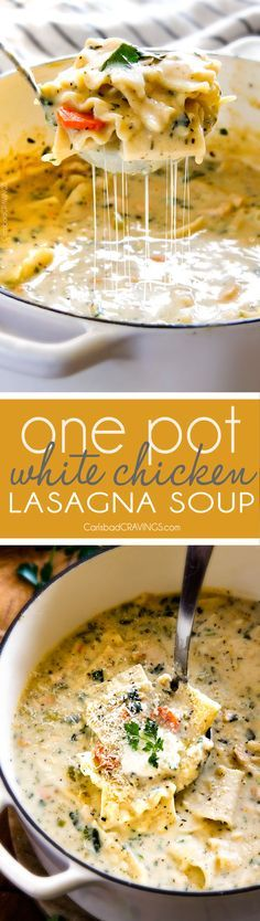 Easy One Pot White Chicken Lasagna Soup - my family LOVES this soup! It tastes just like creamy white chicken lasagna with layers of cheesy noodles without all the layering or dishes! Simply saute chicken and veggies and dump in all ingredients and simmer away! via /carlsbadcraving/