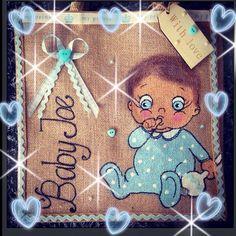 My Handpainted baby boy personalised jute bag