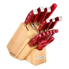 Update your cutting tools with this Farberware Pro 11 forged cutlery set. This knife set includes a wood storage block and features high-carbon stainless steel blades that are taper-ground for precise cutting. Knife Block Set, Knife Sets, Chopping Knife, Victorinox Knives, Gerber Knives, Tomato Knife, Rescue Knife, Trench Knife, Automatic Knives