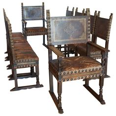 14k Set of Ten (10) Italian Renaissance Revival Chairs in Original Leather c. 1880 | From a unique collection of antique and modern dining room chairs at http://www.1stdibs.com/furniture/seating/dining-room-chairs/