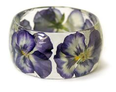 Flower Jewelry- Real Flower Jewelry- Pink Bangle- Purple Flower Jewelry- Resin Jewelry- Flower Bangle- Flower Resin Bracelet